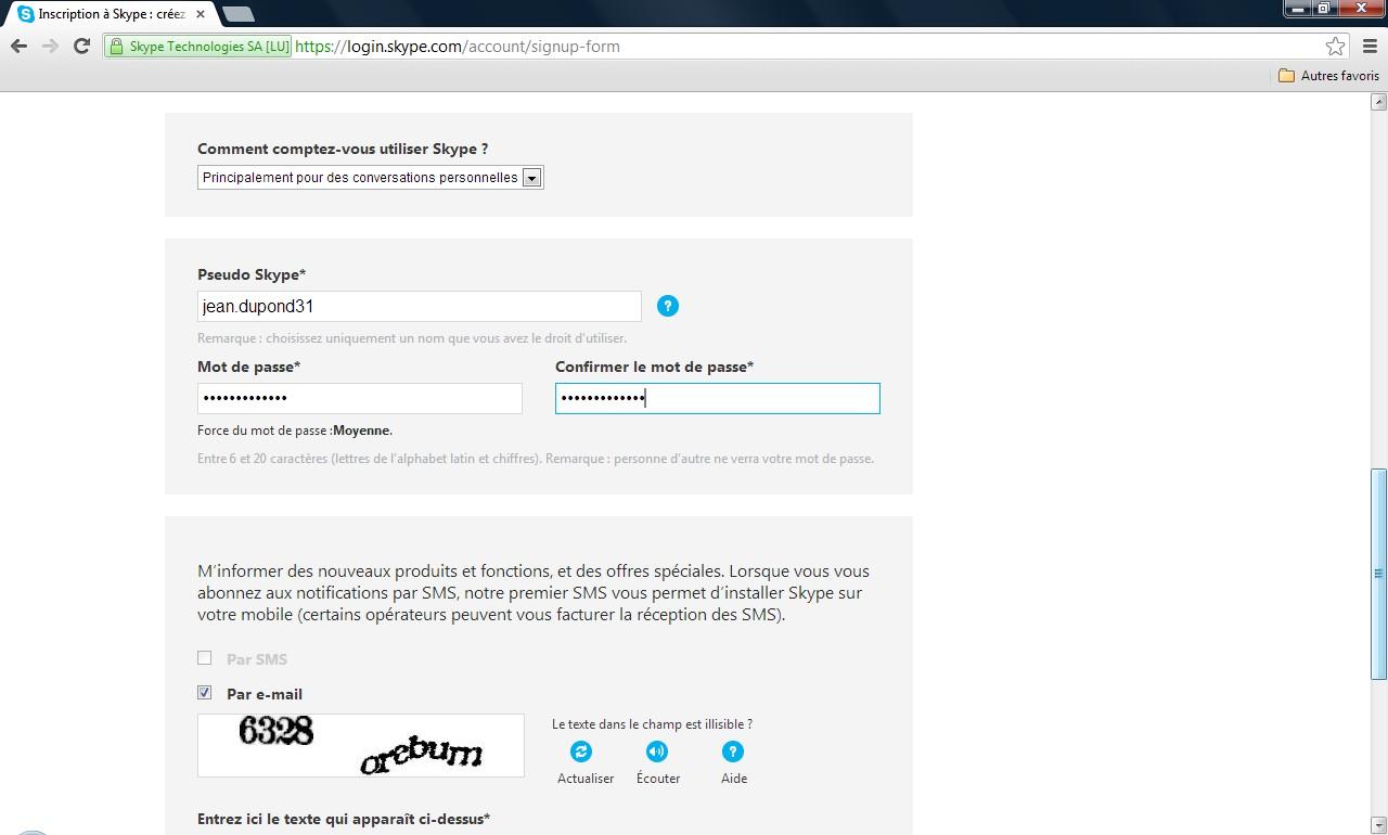 Page de création de compte Skype - Partie 2