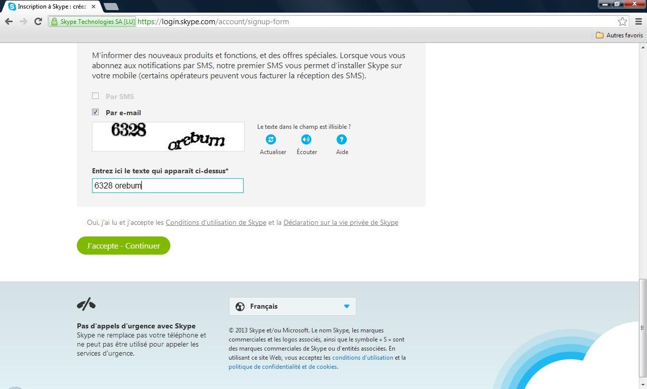 Page de création de compte Skype - Partie 3