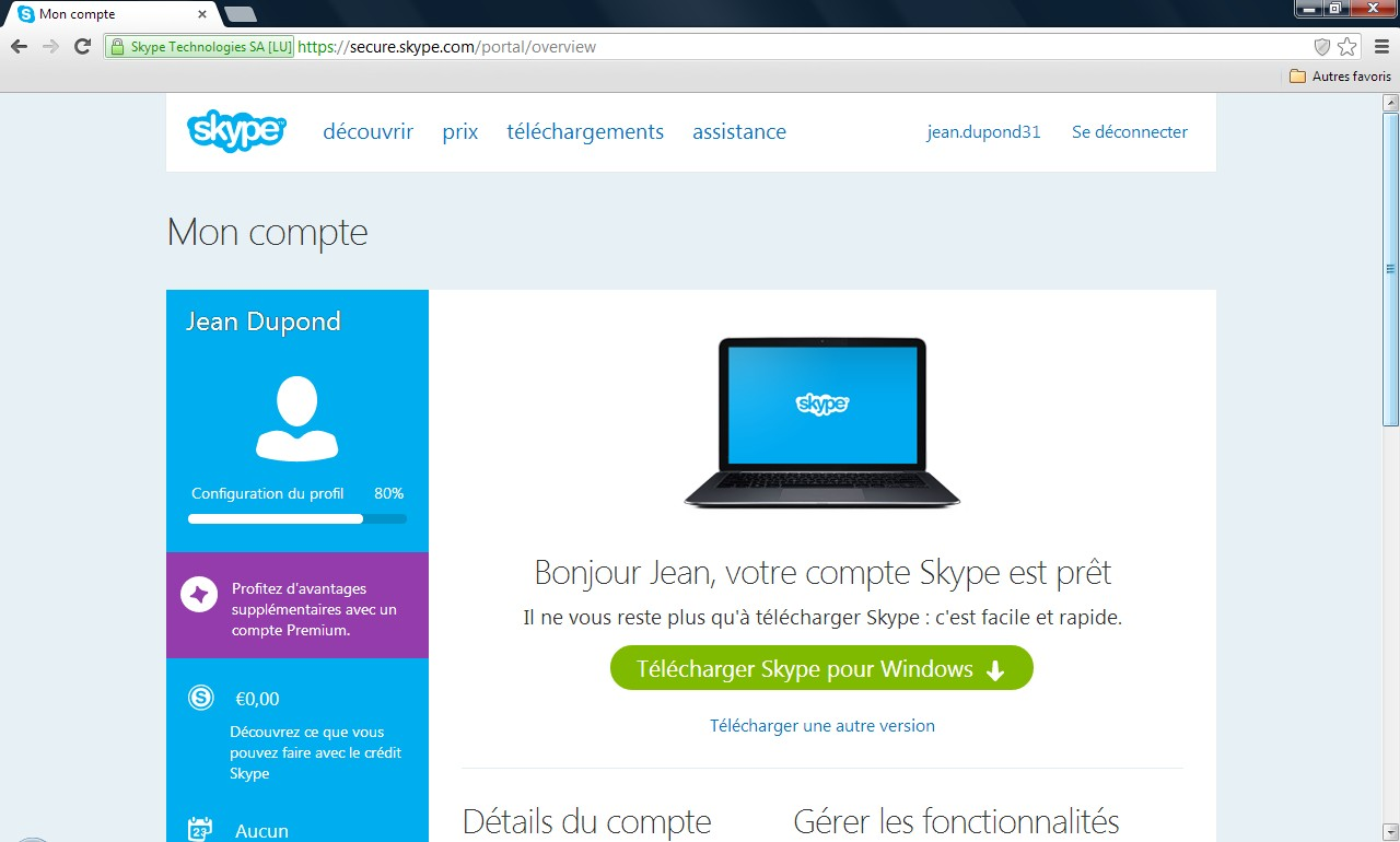 Page de téléchargement Skype - Partie 1