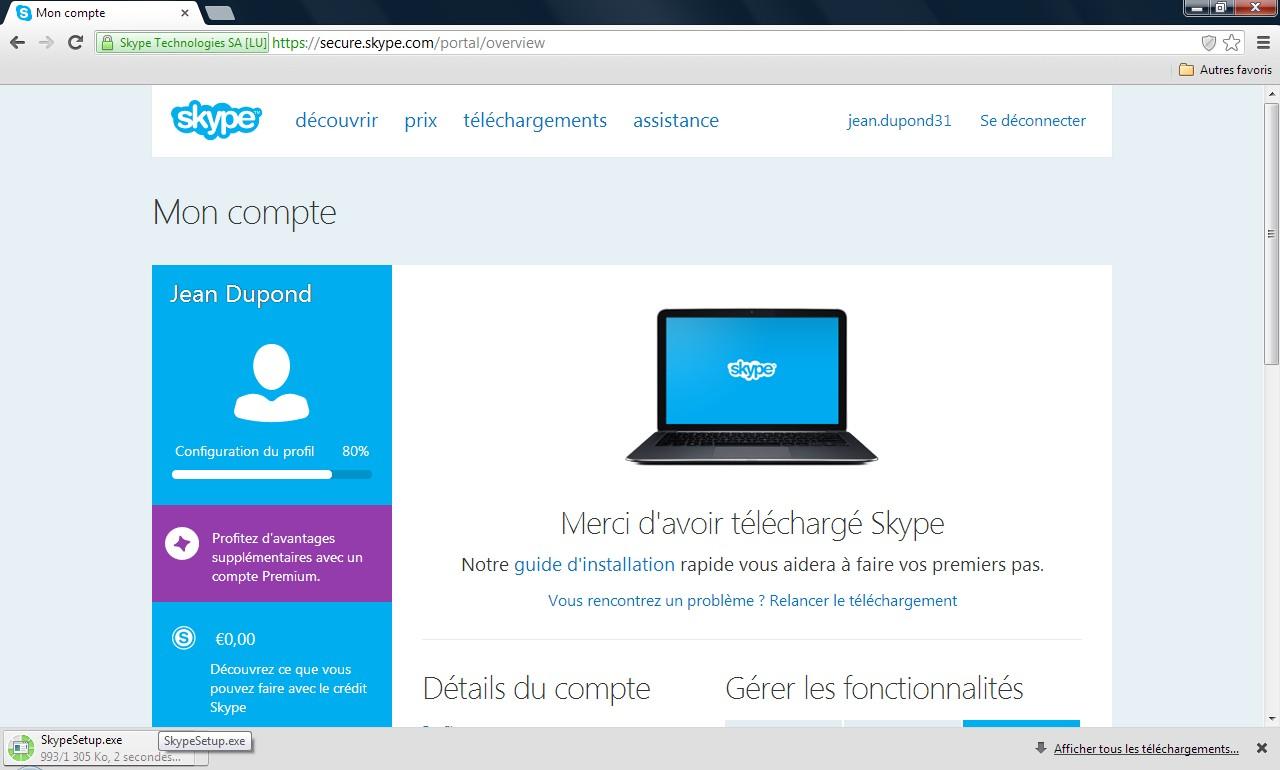 Page de téléchargement Skype - Partie 2