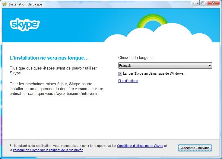 Page d'installation Skype - Partie 1