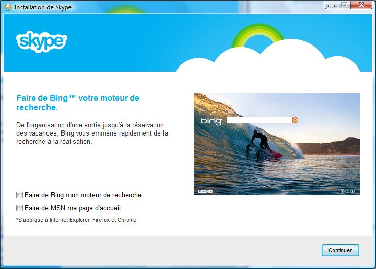 Page d'installation Skype - Partie 2
