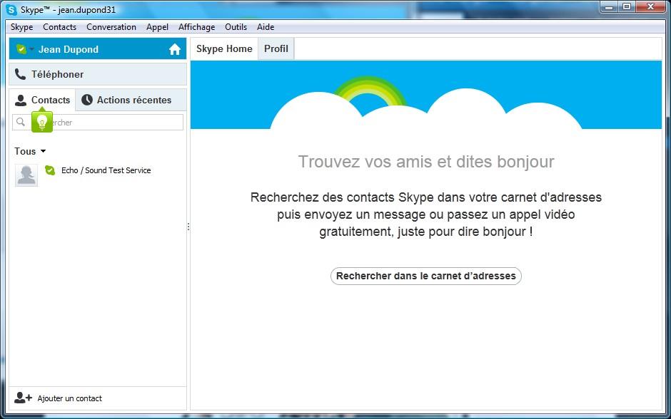 Page d'utilisation Skype - Partie 1