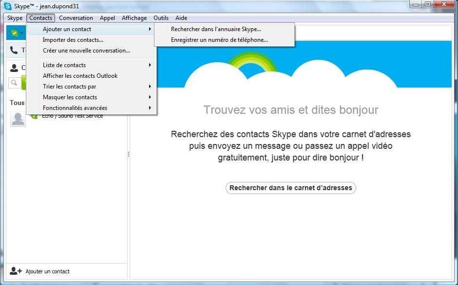 Page d'utilisation Skype - Partie 2