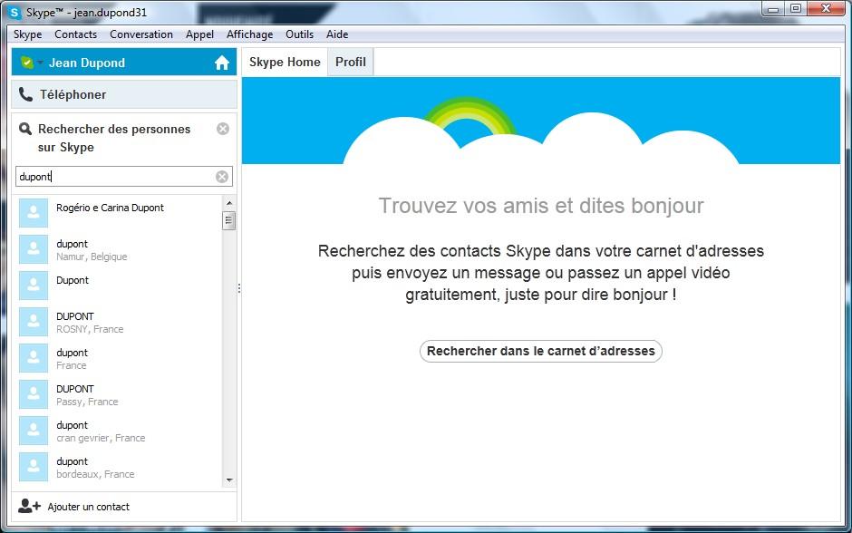 Page d'utilisation Skype - Partie 3
