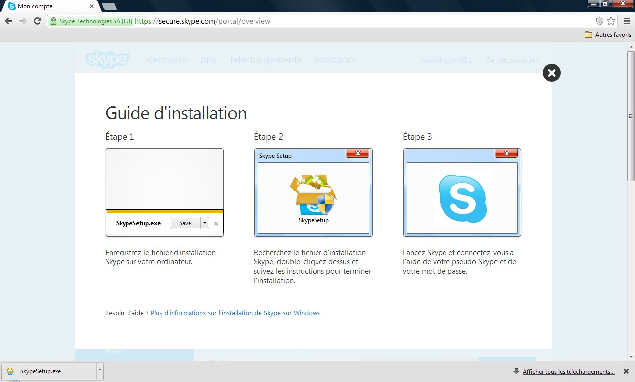 Page guide d'installation Skype